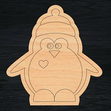 Wood penguin pattern toy for children