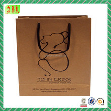 Luxury Handmade Custom Color Print Garment Shopping Recycle Brown Kraft Paper Bag with Handle