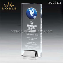 China Manufacturer Acrylic Tall Global Obelisk Trophy with Chrome Base As Memento