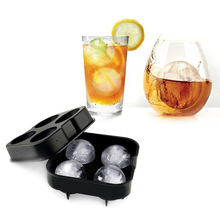 Ice Ball Maker Mold - Flexible Silicone Ice Tray - Molds 4 X 4.5cm Round Ice Ball Spheres