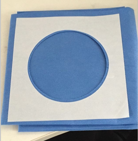 disposable blue nonwoven SMS drape with hole sterile