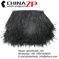 ZPDECOR Trade Assurance Gold Supplier Feather Size 5-6inch Factory Wholesale Cheap Dyed Black Ostrich Feather Trim Fabric Fringe