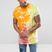 short sleeve custom made t shirts 100% cotton tie dye t shirt in yellow