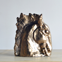 Horses Collection Bronze Finished Horse Head Bust Figurine
