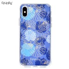IMD Blue shells Printing Soft Flexible TPU Bumper Slim Fit Hard PC Phone Cover Cases For iPhone X
