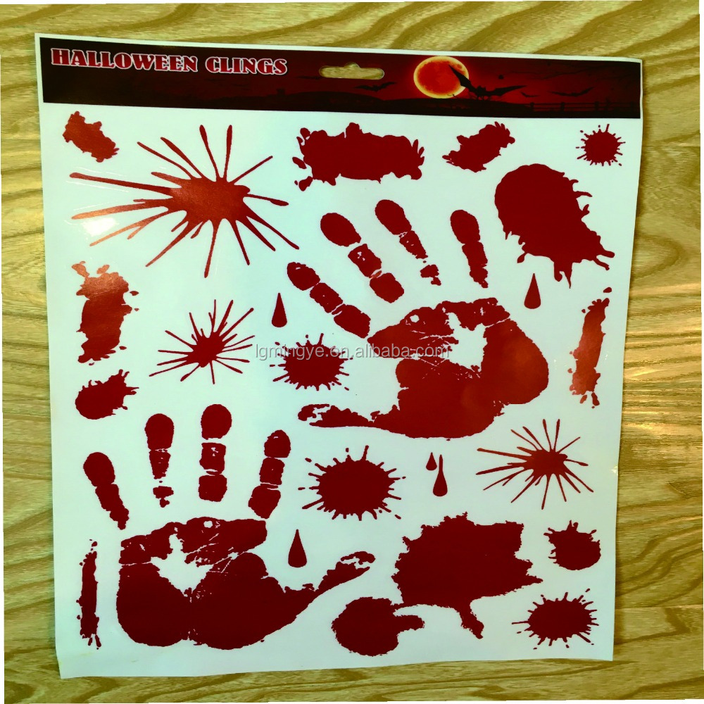 Blood fingerprint halloween clings/holiday window clings/static cling decal