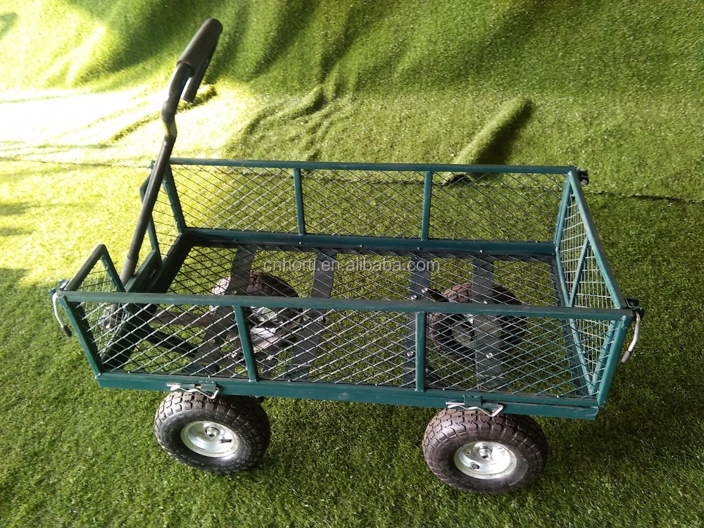 small yellow garden wagon wire mesh cart