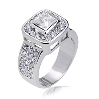 18K Real White Gold Plated Austrian Crystal Wedding Diamond Rings