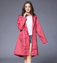 2018 Fashion Sexy Rainwear Waterproof Breathable Lightweight Teflon-Coated Polyester Long Raincoat For Women