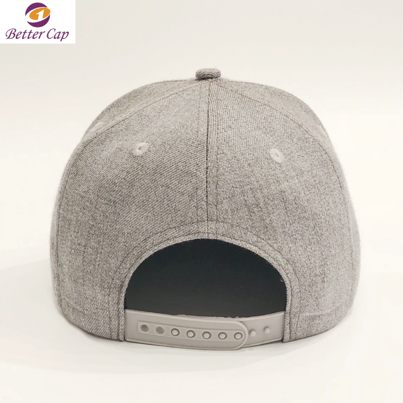High quality 6 panel wool blended flat brim caps embroidery customized snapback hats