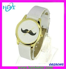 2015 High quality leather band mustache slim watch with simple face design