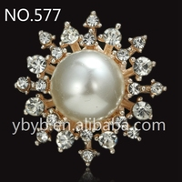 24mm Alloy rhinestone holder fashion pearl button garment accessories sweater embellished pearl button-577
