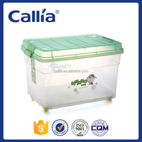 Multifunction Transparent Plastic Storage Box with Wheels and Lid