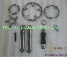 Titanium Bike crank set for cycling XACD made Titanium Bicycle chain ring and bottom bracket axle Custom Titanium chain rings