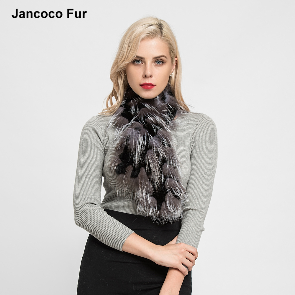 Hot Sale Real Rex Rabbit Fur & Real Fox Fur Scarf Women's Fashion Style Shawls Autumn Winter <strong>Muffler</strong>
