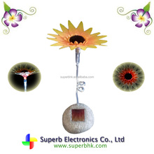 Solar Stone Light with Fiber Optic Sunflower for Indoor Ornament