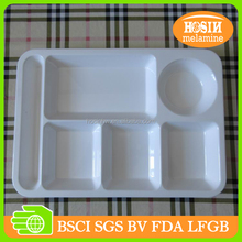 "14"" melamine 6-sections tray plastic rectangle tray melamine tray"