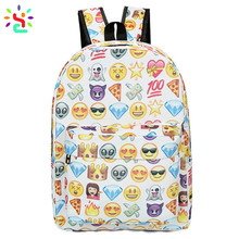 Wholesale backpacks for teen girls school backpack custom print emoji shoulder bag with adjustable strap