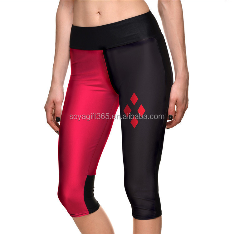 Ladies Black Red Printing Gym Yoga Running Cropped Trouser