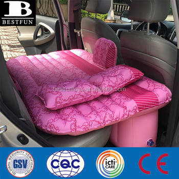 top quality inflatable car rear seat travel fabric bed nylon PVC car backseat mattress folding smart inflatable car air bed