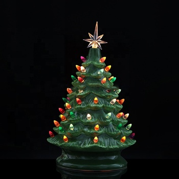 Mains powered colorful lighting beads tabletop Lighted Ceramic Christmas Tree