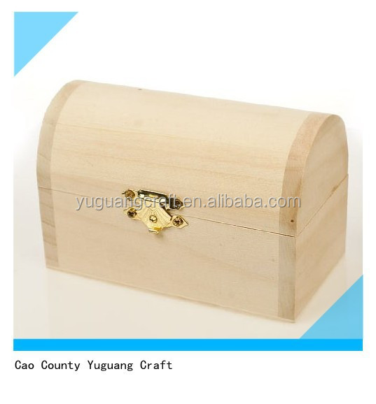 Package of 6 Unfinished Wood Treasure Chest Boxes for Weddings
