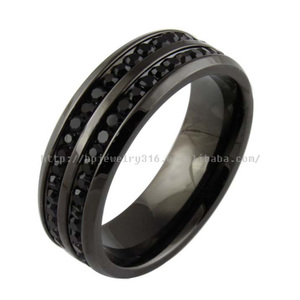 Engagement fashion Jewelry mens wedding diamond ss rings black stainless steel ring