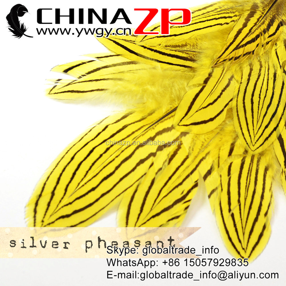 "ZPDECOR Directly Sale 12""-14"" Fantastic Celebration Decoration Silver Pheasant Dyed Yellow Feathers"