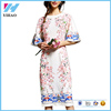 Plus Size 2017 Summer Fashion Runway Lady Peach Flower Appliques Half Flare Sleeve Vintage Printed Fancy Knee-length Dress