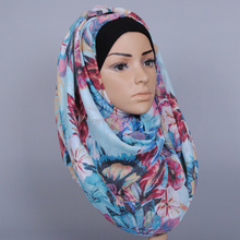 fashion shawls floral printed viscose women muslim hijab popular long scarves GBS374