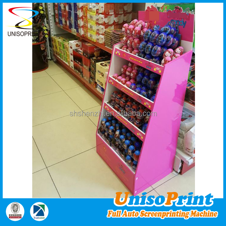 Customized color and size kids portable candy toy display shelves
