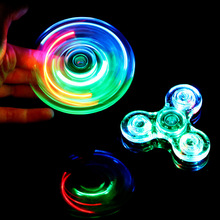 ASTM F963 Certificated Light Up Crystal Transparent Plastic LED Kid Toy Crazy Tri Fidget Hand Spinner