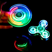 ASTM F963 Certificated Light Up Transparent Crystal Plastic LED Kid Toy Crazy Tri Fidget Hand Spinner