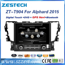 Shenzhen lowest price dvd player for cars For Toyota Alphard 2015 car audio gps navigation with Bluetooth usb sd SWC 3G all