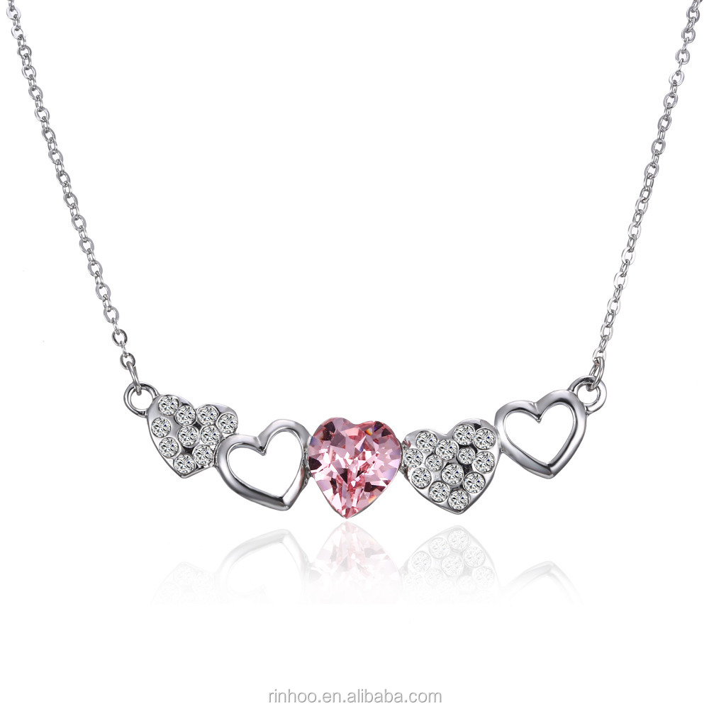 Hot-sales Fashion pink crystal love heart alloy rhinestone pendant <strong>necklace</strong> for girls gift