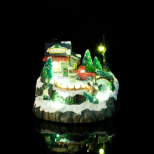 Best Price Polyresin Material Led Light Christmas House Village For Home Decor