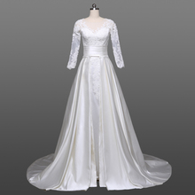 High Quality Long Sleeve A-Line Lace Wedding Dress Bridal Gown With Satin Detachable Train Guangzhou