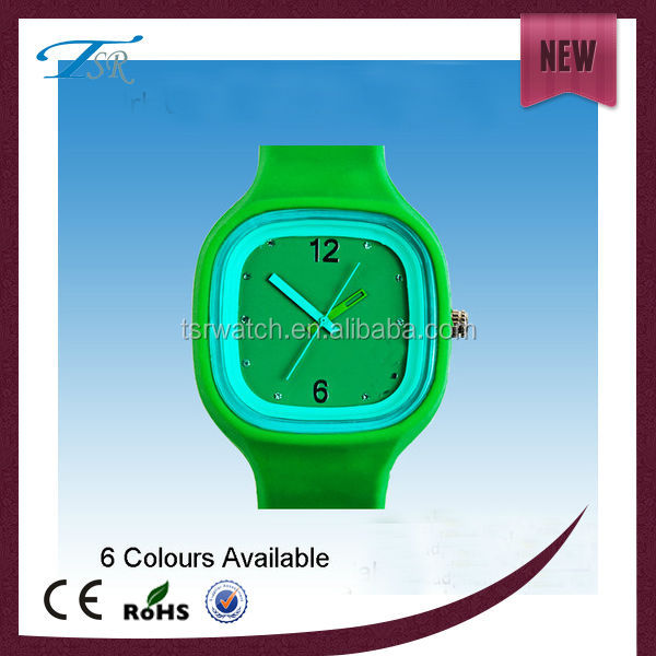wholesale square silicon candy color Jelly watch,new silicon sport wristwatches