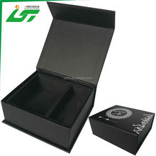 custom black printing small and rustic texture paper gift box with magnetic lid