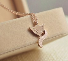 Alibaba Wholesale China Ebay Fashion Jewellry Stainless Steel Rose Gold Plated Fox Necklace