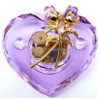 Heart design purple crystal music box wedding gifts souvenirs