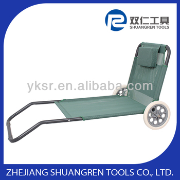 Beach lounger with wheels and sunshade