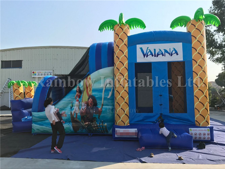Commercial Or Backyard Moana Inflatable Combos With Bounce House And Slides For Kids