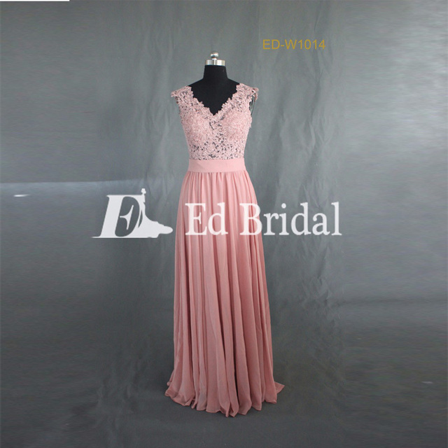 Factory Custom Made Lace Appliqued Chiffon Long Bridesmaid Dress