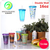 Hot Sell Different Design 16OZ Double Wall Plastic Sippy Cup