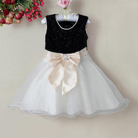 New Year Infant Girl Princess Dress Black and White Girls Beautiful Party Dress Baby Clothes GD21115-06