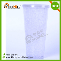 Hot Sale Coke Mug Double Wall Plastic Ice Beer Mug with Straw