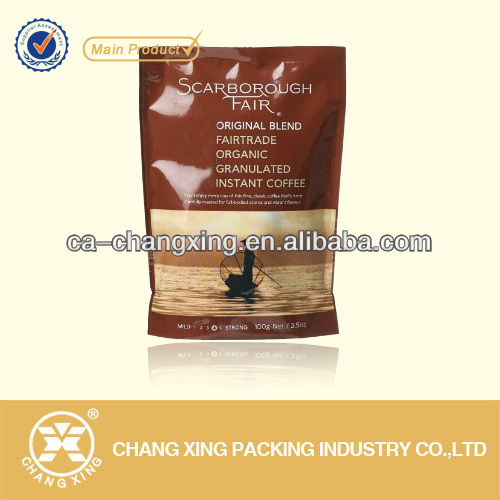 printed coffee granule bag with Reclosable zipper and valve for oxygen release