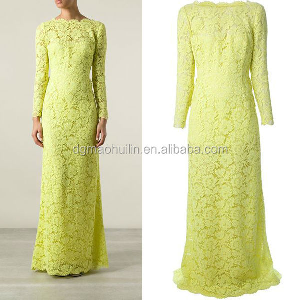 The fitted waist a scalloped hem long sleeve lace evening gown