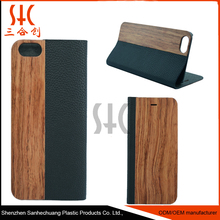 Natural wood wooden and pu leather stand wallet cell phone book cases for iphones